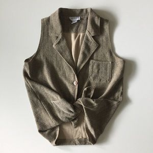Vintage 90s Textured Tan Vest Sleeveless Top S